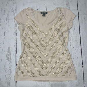 WHBM beige short sleeve embellished beaded top